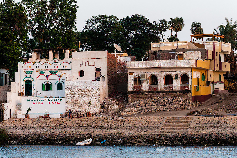 Egypt. Aswan stands on the east bank of the Nile. Nubian buildings on the Elephantine Island.