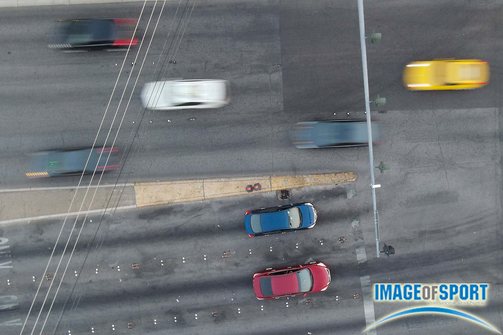 Cars are seen at a red light at an intersection near the Las Vegas Strip, Monday, Sept. 14, 2020, in Las Vegas. (Dylan Stewart/Image of Sport)