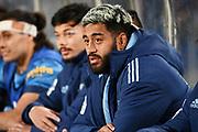 Akira Ioane on the bench.<br /> Blues v Force, Sky Super Rugby Trans-Tasman. Eden Park, Auckland. New Zealand. Saturday 12 June 2021. © Copyright Photo: Andrew Cornaga / www.photosport.nz