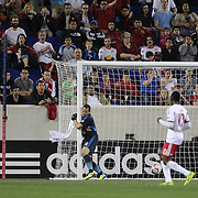New York Red Bulls goalkeeper Luis Robles is beaten by a cross come shot by Patrick Nyarko, Chicago Fire, for his sides fifth goal during the New York Red Bulls Vs Chicago Fire, Major League Soccer regular season match won 5-4 by the Chicago Fire at Red Bull Arena, Harrison, New Jersey. USA. 10th May 2014. Photo Tim Clayton