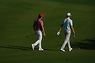 Kristoffer Broberg (SWE) and Sebastian Soderberg (SWE) on the 16th during Round 1 of the Commercial Bank Qatar Masters 2020 at the Education City Golf Club, Doha, Qatar . 05/03/2020<br /> Picture: Golffile   Thos Caffrey<br /> <br /> <br /> All photo usage must carry mandatory copyright credit (© Golffile   Thos Caffrey)