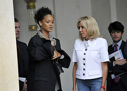 Barbadian singer and Global Ambassador for the Global Partnership for Education Rihanna is welcomed by French First Lady Brigitte Macron at the Elysee Palace ahead of a meeting with French President Emmanuel Macron in Paris, France on July 26, 2017. Photo by Alain Apaydin/ABACAPRESS.COM