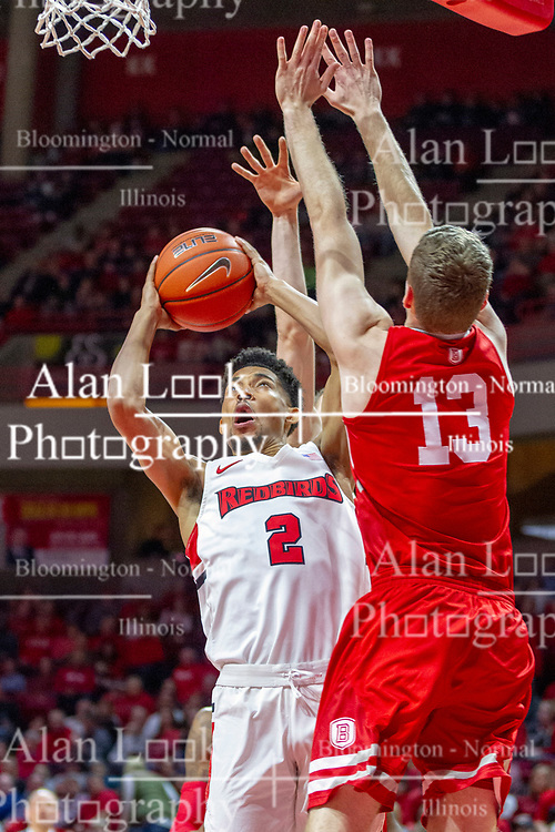 NORMAL, IL - February 16: Zach Copeland shoots past defender Luuk Van Bree during a college basketball game between the ISU Redbirds and the Bradley Braves on February 16 2019 at Redbird Arena in Normal, IL. (Photo by Alan Look)