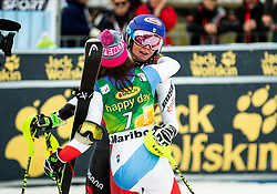 HOLDENER Wendy of Switzerland and SHIFFRIN Mikaela of USA celebrate after the 7th Ladies'  tSlalom at 55th Golden Fox - Maribor of Audi FIS Ski World Cup 2018/19, on February 2, 2019 in Pohorje, Maribor, Slovenia. Photo by Matic Ritonja / Sportida