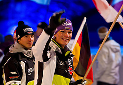 07-02-2011 SKIEN: FIS ALPINE WORLD CHAMPIONSSHIP: GARMISCH PARTENKIRCHEN<br /> Maria Riesch und Felix Neureuther during official Official opening ceremony Fis Alpine Ski World Championships<br /> **NETHERLANDS ONLY**<br /> ©2011-WWW.FOTOHOOGENDOORN.NL/NPH- J. Groder