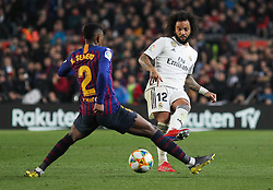 February 6, 2019 - Barcelona, BARCELONA, Spain - Marcelo of Real Madrid and Semedo of Barcelona in action during Spanish King championship, football match between Barcelona and Real Madrid, February 06th, in Camp Nou Stadium in Barcelona, Spain. (Credit Image: © AFP7 via ZUMA Wire)
