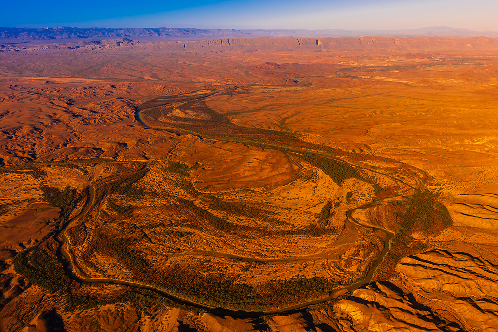 Aerial view taken over Big Bend National Park, Texas USA looking to the Rio Grande River, which is the border between the U.S. and Mexico. Mexico is on the far side of the river.