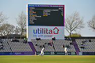 Gary Ballance of Yorkshire batting in front of the giant scoreboard during the Specsavers County Champ Div 1 match between Hampshire County Cricket Club and Yorkshire County Cricket Club at the Ageas Bowl, Southampton, United Kingdom on 11 April 2019.