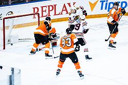 Andrew Shaw of Chicago Blackhawks  with Justin Braun of Philadelphia Flyers  during NHL game between teams Chicago Blackhawks and Philadelphia Flyers at NHL Global Series in Prague, O2 arena on 4th of October 2019, Prague, Czech Republic. Photo by Grega Valancic / Sportida