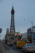 The famous tourist attraction Blackpool Tower on the Promenade at dusk in Blackpool, Lancashire, England. It was inspired by the Eiffel Tower in Paris and opened in 1894. It is 518 feet tall.  (photo by Andrew Aitchison / In pictures via Getty Images)(photo by Andrew Aitchison / In pictures via Getty Images)