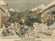 Russo-Japanese War 1904-1905:  Russian Cossaks marauding through a Korean village. From 'Le Petit Journal', Paris, 27 March 1904.