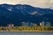 Casinos and mountains above Stateline Nevada, from South Lake Tahoe, California