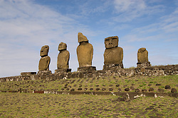 Chile, Easter Island: Statues or moai on a platform or ahu, called Ahu Tahai, near the town of Hanga Roa..Photo #: ch220-33601.Photo copyright Lee Foster www.fostertravel.com lee@fostertravel.com 510-549-2202