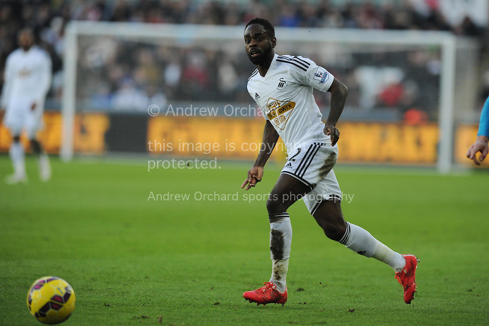Nathan Dyer of Swansea city in action.  Barclays premier league match, Swansea city v Sunderland at the Liberty stadium in Swansea, South Wales on Saturday 7th Feb 2015.<br /> pic by Andrew Orchard, Andrew Orchard sports photography.