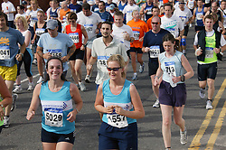 Runners at the Nottingham Robin Hood Marathon; held every year and starting and finishing at the Victoria Embankment,