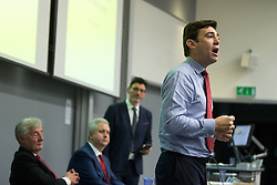 © Licensed to London News Pictures . 21/07/2016 . Manchester , UK . ANDY BURNHAM . Hustings for the Mayoralty of Greater Manchester , at the Renold Building of the University of Manchester . Labour candidates Andy Burnham ( MP for Leigh ) , Tony Lloyd ( current interim Mayor ) and  Ivan Lewis ( MP for Bury South ) debate their relative candidacies . Photo credit : Joel Goodman/LNP