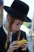 Israel, Jerusalem, Me'a She'arim, young Orthodox Jew examining the Etrog to verify its quality. Of the many symbols associated with Sukkot the most important are the Four Species. For any of the 4 species to be used for the religious ritual they must be up to speck.