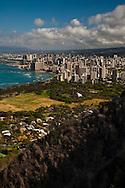 View of Waikiki Beach and Honolulu from the summit of Diamond Head Crater Park, Oahu, Hawaii