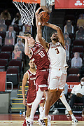 Stanford Cardinal forward Max Murrell (10) defends against Southern California Trojans forward Isaiah Mobley (3)  during an NCAA men's basketball game, Wednesday, March 3, 2021, in Los Angeles. USC defeated Stanford 79-42. (Jon Endow/Image of Sport)