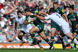 Leicester Tigers fullback Blaine Scully goes on the attack - Photo mandatory by-line: Patrick Khachfe/JMP - Tel: Mobile: 07966 386802 - 21/09/2013 - SPORT - RUGBY UNION - Welford Road Stadium - Leicester Tigers v Newcastle Falcons - Aviva Premiership.