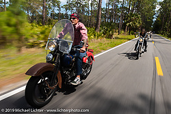 Bill Grotto of Twisted Tea riding his personal Panhead through Tomoka State Park during Daytona Bike Week. FL. USA. Sunday March 18, 2018. Photography ©2018 Michael Lichter.