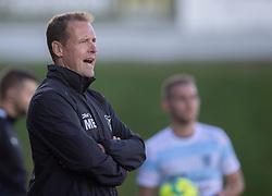 Cheftræner Morten Eskesen (FC Helsingør) under kampen i 1. Division mellem FC Fredericia og FC Helsingør den 4. oktober 2020 på Monjasa Park i Fredericia (Foto: Claus Birch).