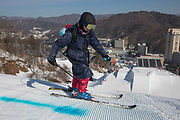 Painting the landing. The freestyle ski and snowboard slopestyle course open for practice on the 7th February 2018 at Phoenix Snow Park for the Pyeongchang 2018 Winter Olympics in South Korea