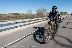 Harry Verkuil of Scotland approaching Pueblo, Colorado on his 1916 Model F class-3 Harley-Davidson during the during the Motorcycle Cannonball Race of the Century. Stage-9 Dodge City, KS to Pueblo, CO. USA. Monday September 19, 2016. Photography ©2016 Michael Lichter