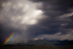 rainbow over the Santa Fe Mountains in New Mexico
