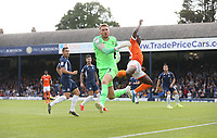 Blackpool's Sullay Kaikai is foiled by Southend United's Mark Oxley<br /> <br /> Photographer Rob Newell/CameraSport<br /> <br /> The EFL Sky Bet Championship - Southend United v Blackpool - Saturday 10th August 2019 - Roots Hall - Southend<br /> <br /> World Copyright © 2019 CameraSport. All rights reserved. 43 Linden Ave. Countesthorpe. Leicester. England. LE8 5PG - Tel: +44 (0) 116 277 4147 - admin@camerasport.com - www.camerasport.com