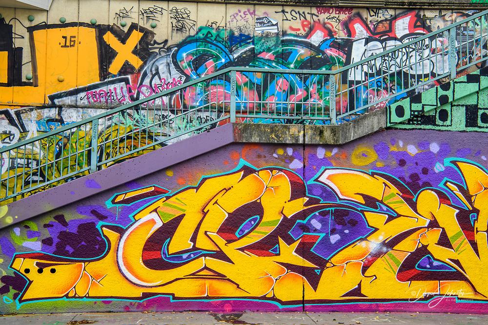 Graffiti on the Danube Canal, Vienna, Lower Austria, Austria