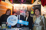 NO FEE PICTURES<br /> 23/1/16 Minister for Tourism Michael Ring and Maureen Ledwith, organiser of the Holiday World Show at the Visit Ennis stand at the Holiday World Show at the RDS in Dublin. Picture: Arthur Carron