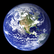 Satellite view of the Earth with North America in centre of the image. Credit: NASA. Science Earth Geology  Oceanography