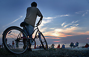 Bicyclist at Sunset View, Cape May Point, Atlantic Ocean Meets Delaware Bay