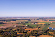 Aerial photograph of farmland south of Albany, Green County, Wisconsin, USA.