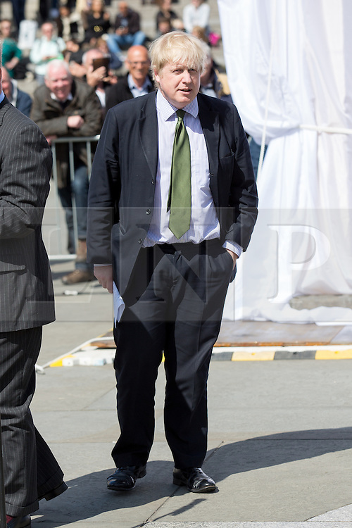 © Licensed to London News Pictures. 19/04/2016. London, UK. Boris Johnson, Mayor of London opens a replica of the Palmyra 'Arch of Triumph' in Trafalgar Square. Photo credit : Tom Nicholson/LNP