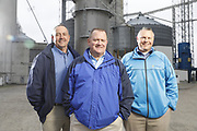 SHOT 10/29/18 9:55:17 AM - Sunrise Cooperative is a leading agricultural and energy cooperative based in Fremont, Ohio with members spanning from the Ohio River to Lake Erie. Sunrise is 100-percent farmer-owned and was formed through the merger of Trupointe Cooperative and Sunrise Cooperative on September 1, 2016. Photographed at the Clyde, Ohio grain elevator was George D. Secor President / CEO and John Lowry<br /> Chairman of the Board of Directors with  CoBank RM Gary Weidenborner. (Photo by Marc Piscotty © 2018)