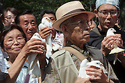 A man prepares to release a white dove, in a prayer for peace, during the 70th anniversary celebrations of the end of the Pacific war  at the controversial Yasukuni Shrine in Kudanshita, Tokyo, Japan Saturday August 15th 2015