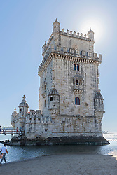 Low angle view of Belem Tower at riverbank, River Tagus, Lisbon, Portugal