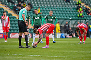 Sunderland Midfielder Chris Maguire (7) prepares to take the penalty kick while Referee  JAMES BELL   is looking on  during the EFL Sky Bet League 1 match between Plymouth Argyle and Sunderland at Home Park, Plymouth, England on 1 May 2021.