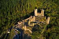 France, Haute-Loire (43), Bas-en-Basset, château de Rochebaron, vallée de la Loire, (vue aérienne) // France, Haute-Loire (43), Bas-en-Basset, Rochebaron castle, Loire valley, (aerial view)