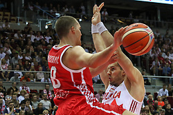 September 17, 2018 - Gdansk, Poland - Jakov Mustapic (8) of Croatia in action against Krzysztof Sulima (7) of Poland  is seen in Gdansk, Poland on 17 September 2018  Poland faces Croatia during the Basketball World Cup China 2019 Qualifiers game in the ERGO Arena sports hall in Gdansk  (Credit Image: © Michal Fludra/NurPhoto/ZUMA Press)