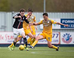 Falkirk's Blair Alston and Morton's Luca Gasparotto. <br /> half time : Falkirk 0 v 0 Morton, Scottish Championship game  played 1/5/2016 at The Falkirk Stadium.