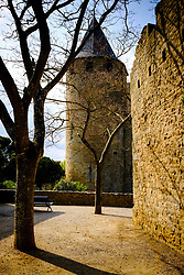Early morning spring sunshine glances across the walls of the Château Comtal  within the medieval  Cité de Carcassonne, France<br /> <br /> (c) Andrew Wilson   Edinburgh Elite media