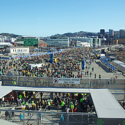 Fans arrive to the Wellington Regional Stadium  for the South Africa V Australia Quarter Final match at the IRB Rugby World Cup tournament. Wellington Regional Stadium, Wellington, New Zealand, 9th October 2011. Photo Tim Clayton...