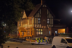 ©Licensed to London News Pictures 25/07/2020     <br /> Chislehurst, UK. The Gordon Arms pub. Police have cordoned off the Gordon Arms pub in Chislehurst, South East London after reports of two men being stabbed. Forensic officers are at the scene. Police were called at 20:52hrs on 24.07.20. Photo credit: Grant Falvey/LNP