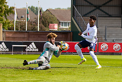 NEWPORT, WALES - Friday, September 3, 2021: Wales' goalkeeper Tyler Evans makes a save during an International Friendly Challenge match between Wales Under-18's and England Under-18's at Spytty Park. (Pic by David Rawcliffe/Propaganda)