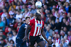 John Akinde of Lincoln City heads the ball - Mandatory by-line: Robbie Stephenson/JMP - 14/09/2019 - FOOTBALL - Sincil Bank Stadium - Lincoln, England - Lincoln City v Bristol Rovers - Sky Bet League One