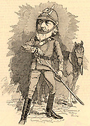 Frederick or Frederic, Lord Leighton (1830-1896) English painter and sculptor born at Scarborough, Yorkshire. President of the Royal Academy 1878-1896. Leighton in military uniform on his retirement as Colonel of the Artists' Rifles (Middlesex (Artists') Rifle Volunteer Corps). Cartoon by Edward Linley Sambourne in the Punch's Fancy Portraits series from 'Punch' (London, 16 February 1884).