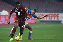 February 17, 2019 - Napoli, Italy, Italy - Italian Serie A football match SSC Napoli - Torino FC at the San Paolo stadium in photo Soualiho Meite defender of torino and Allan midfielder of ssc napoli contend the ball, score final of the match is 0-0. (Credit Image: © Antonio Balasco/Pacific Press via ZUMA Wire)